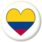 Colombia Country Flag Heart 25mm Pin Button Badge